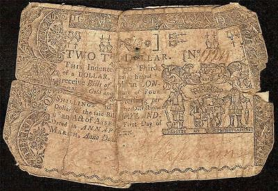 1770 $2/3 Two Thirds Dollar Maryland Colonial Currency Very Old Paper Money