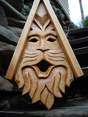 Bird House Hand Carved Cat Face Wood Spirit 16""