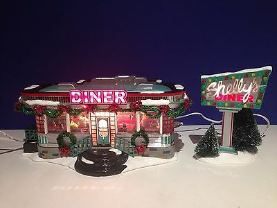 Dept 56 Snow Village SHELLY'S DINER Set of 2 w/ box Combine Shipping!