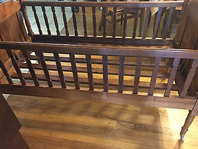 Vintage Wooden Folding Baby Crib Cot Bed Child's Wood Portable Antique Foldable