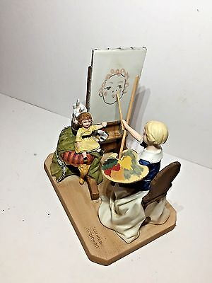 "1980 Norman Rockwell ""The Artist's Daughter"" Porcelain Sculpture W/COA and box"