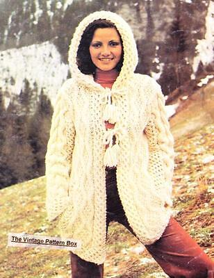 ARAN HOODED JACKET - bulky or 12ply - COPY Ladies knitting pattern