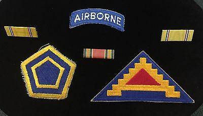 WW-2-55th Infantry Ghost Div- 7th Army-Airbone Tab -Ribbon Bars-Military Patches