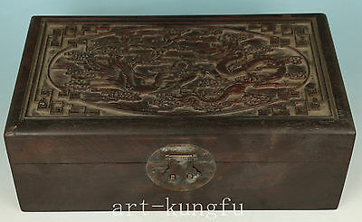 Chinese Old Wood Collection Handmade Carved Dragon Statue Cabinets Box