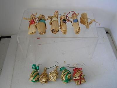 "Vintage Christmas ornaments 11  Straw woven corn husk Dolls Norway 3.5"" tall"