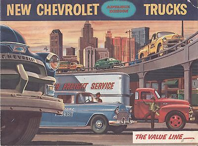 1955 Chevy (Series 1) Trucks, Full Range 16-Page Foldout USA Issue Brochure