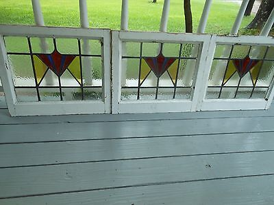 DUR-257 Older Art Deco Style Leaded Stained Glass Window F/England 3 Available
