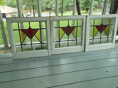 DUR-259 Older Art Deco Style Leaded Stained Glass Window F/England 3 Available