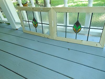 MA10-213 Lovely Older Leaded Stain Glass Window F/England Reframed 2 Available