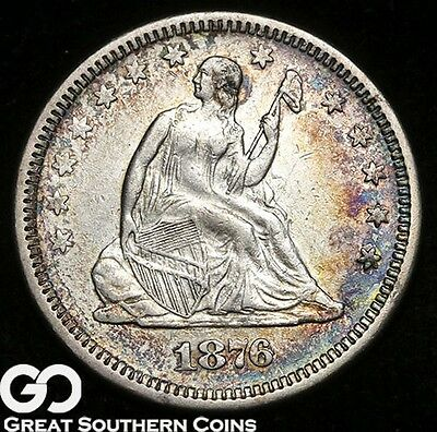 1876 Seated Liberty Quarter, Nice AU Silver Type, ** Free Shipping!