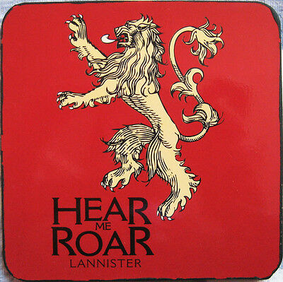Official Game Of Thrones House Lannister Coaster Lion Sigil Hear Me Roar Motto