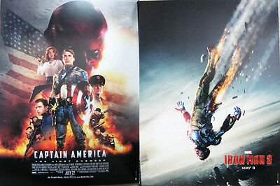 """Captain America The First Avenger Iron Man 3 12"""" X 16"""" Two-Sided Poster Marvel"""