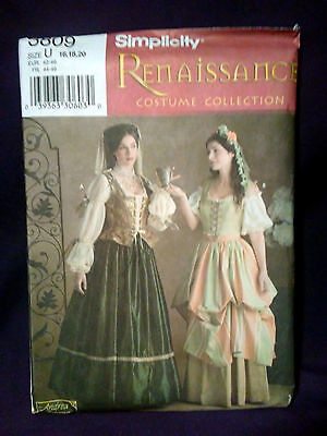 Simplicity Sewing Pattern 3809 Renaissance Queen Maiden Costume Size 16-20 Uncut