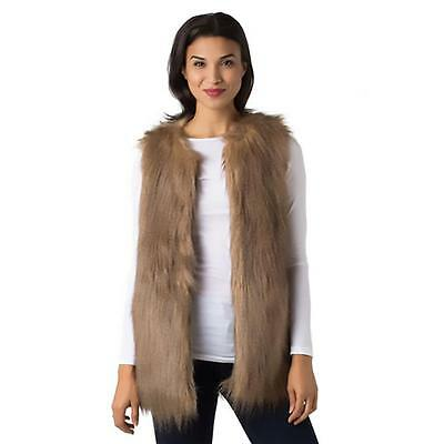 Black Swan 1197 Womens Frost Taupe Faux Fur Lined Casual Vest XS BHFO