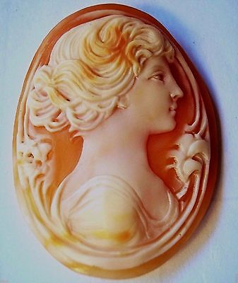 """High Quality Large 1.5"""" Antique Art Nuoveau Carved Shell Cameo Loose Unmounted"""
