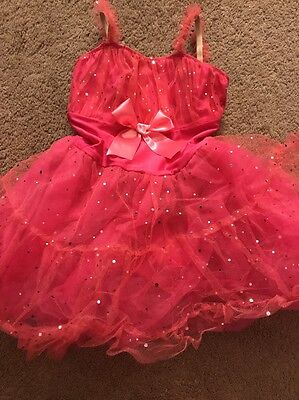 Girls Pink Dance Outfit/ Tutu Sparkly One piece Size 8