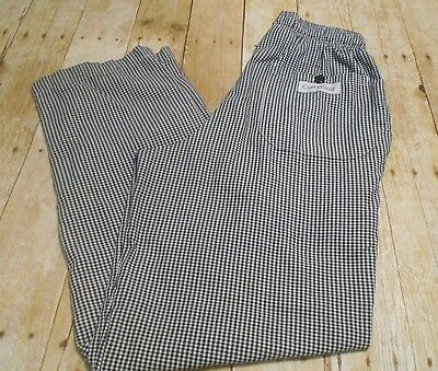 Chef Works Checkered Chef Pants Elastic Waist Draw String   SMALL  D2-623