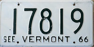 USA Number Licence Plate VERMONT 1966