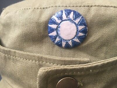 Original WWII Chinese army dress uniform cap ceramics badge