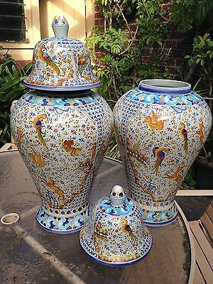 Pair of hand painted portugese vases
