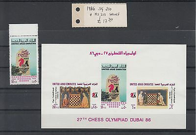 United Arab Emirates:1986 Chess Olympics stamp and miniature sheet.SG210 & MS213