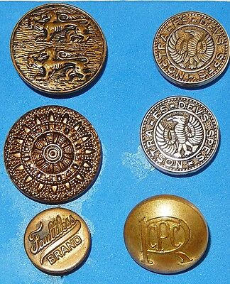 Six Vintage Brass Metal Buttons