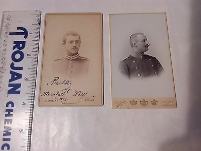 2 Vintage Photos - Military Men With Mustache Photos - Germany 1892
