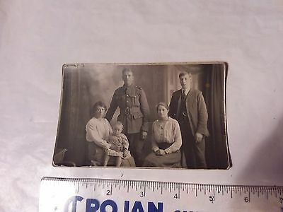 Vintage Photo Postcard  - World War I  - Soldier With Family Photograph