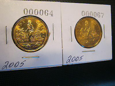 """2005 Canadian Loonie Coin Terry Fox 2 Coins in Lot """" Excellent Condition"""""""