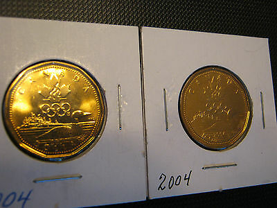 2004 Canadian Olympic Loonie Coin Lot Of 2
