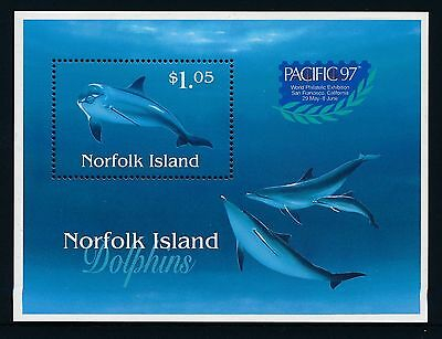 Norfolk 1997 Pacific Stamp Exhibition. Dolphins MS MNH