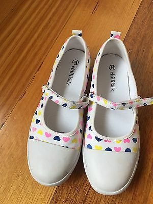 Bnwob Girls Chilli Kids Canvas Mary Jane Shoes White With Hearts Size 36