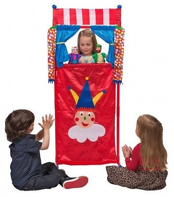 Theatre Playset with 4 Puppets - Puppet Show Kids Set - Toy Game Drama Acting