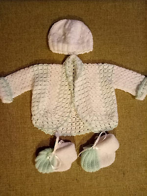 hand knitted and crochet baby clothes. white and mint set. new born.