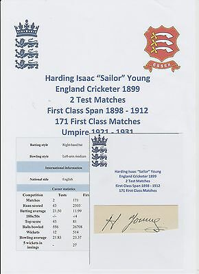 Sailor Young England Cricketer 1899 Tests X 2 Extremely Rare Orig Hand Signed
