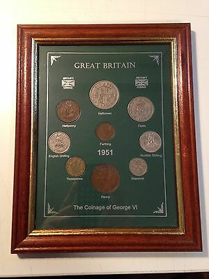 Framed 1951 British Coins Coin Set