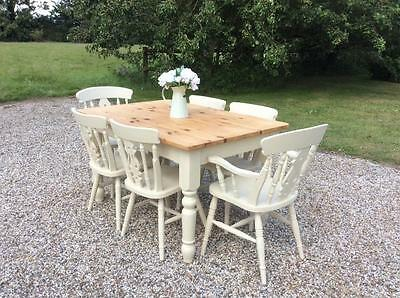 Shabby Chic Solid Pine Farmhouse Dining Table & 6 Chairs Painted in Farrow Ball