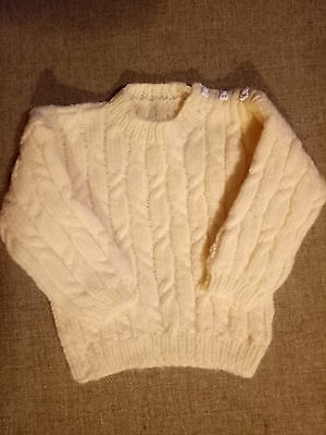 hand knitted baby clothes, jumper, sweater, detailed. size 1