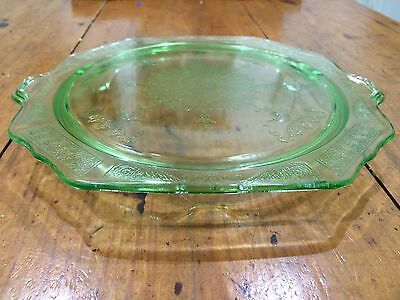 Anchor Hocking Vintage  'princess'  Footed Cake Stand, Uranium Glass, 1931-35