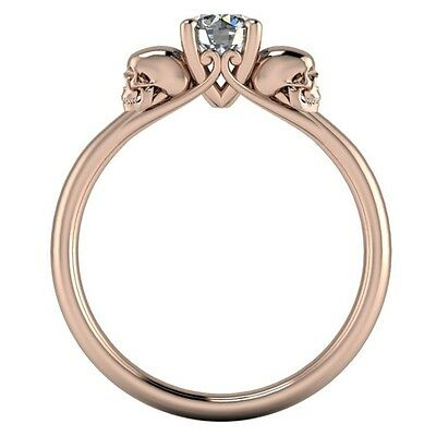 925 Silver White Gem Rose Gold Filled Fashion Personality Skull Head Ring Size 9