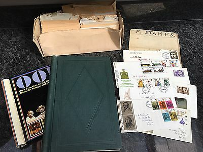 Antique vintage collection of stamps - 2 small albums Plus 1st Day Covers Etc