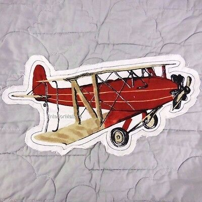 Sky Hawk Vintage airplanes 2PC TWIN QUILT SET plane applique GRAY RED BLUE BOY