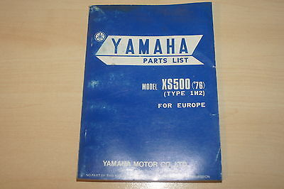 Yamaha Genuine Xs500  76 Xs500 Type 1H2  Parts List Book Manual