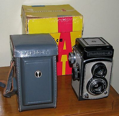 Yashica Model A Tlr With Case And Box - Gray Grey - Tested - Sample Pics