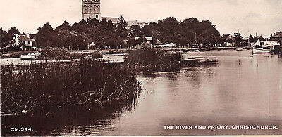 Old Postcard Of The River And Priory Christchurch