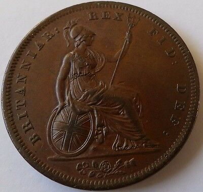 1826 George Iv Copper Penny Thin Line On Saltire