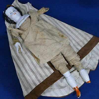 """Antique High Brow China Head Doll 16"""" ~ Cloth Body with Porcelain limbs ~ Parts?"""