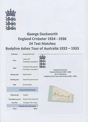 George Duckworth England Cricketer Ashes Bodyline Tour 1932-33 Rare Hand Signed