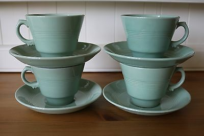 Vintage Woods Ware Beryl Tea Cups And Saucers X 4  1940's