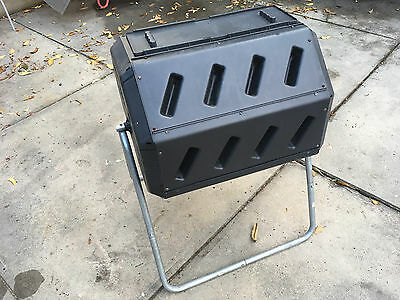 Twin Chamber Tumbler Rotating Compost Bin Composter Garden Waste Recycle Black
